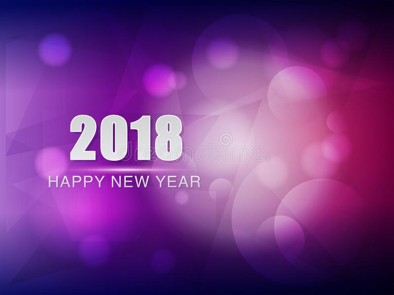 Happy new year 2018, violet purple greeting card. Holiday seasonal concept royalty free illustration
