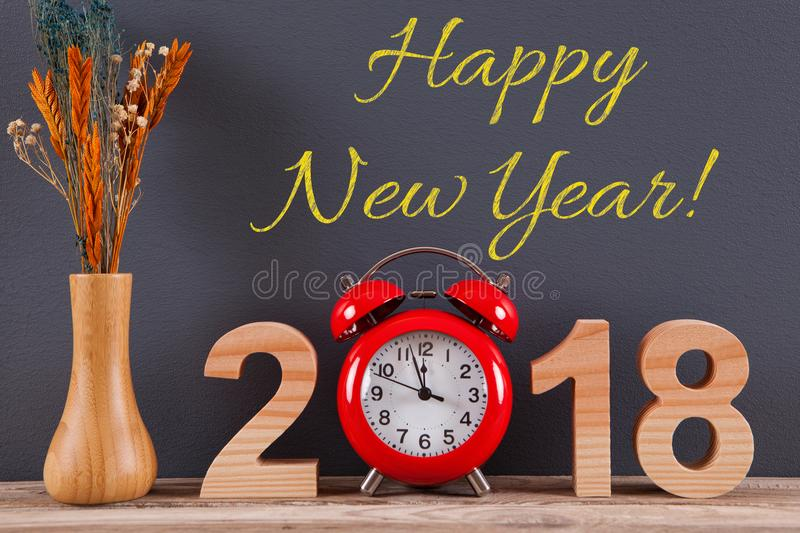 Happy New Year 2018 on Wall royalty free stock photo