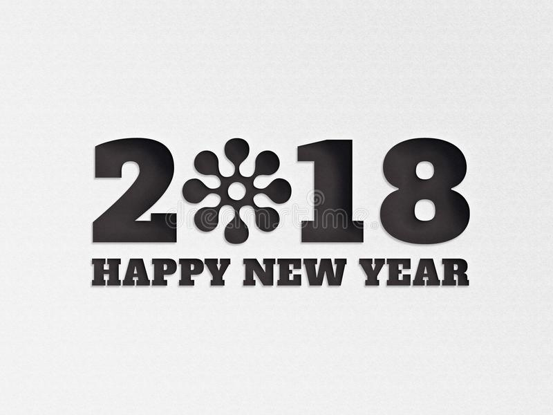 Happy New Year 2018 wallpaper banner background flower with paper cut out effect in black color. vector illustration