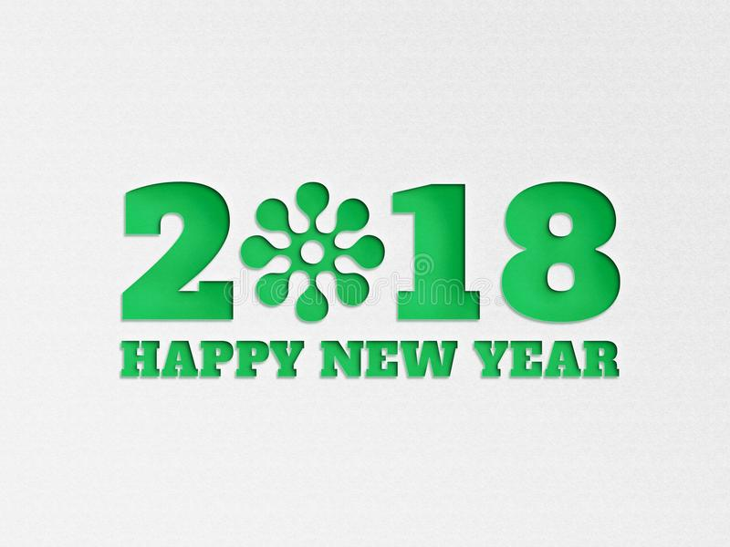 Happy New Year 2018 wallpaper banner background flower with paper cut out effect in greencolor. stock illustration