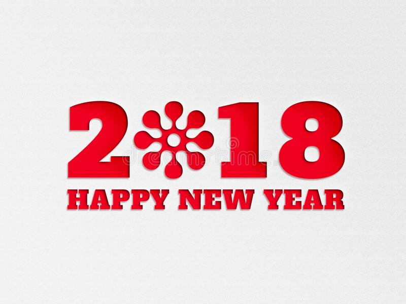 Happy New Year 2018 wallpaper banner background flower with paper cut out effect in red color. stock photography
