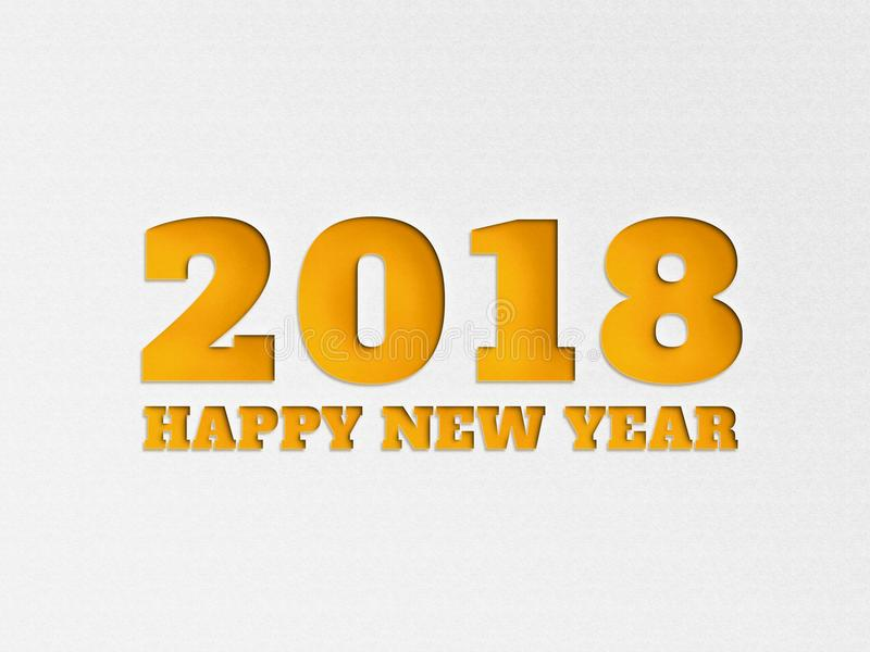 Happy New Year 2018 wallpaper banner background flower with paper cut out effect in yellow color. royalty free stock image