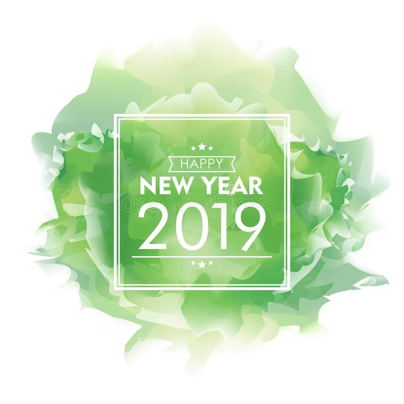 Happy New Year 2019 Watercolor Design. Green Cloud Celebration Banner, Vector Illustration for greeting card, poster and voucher. stock illustration