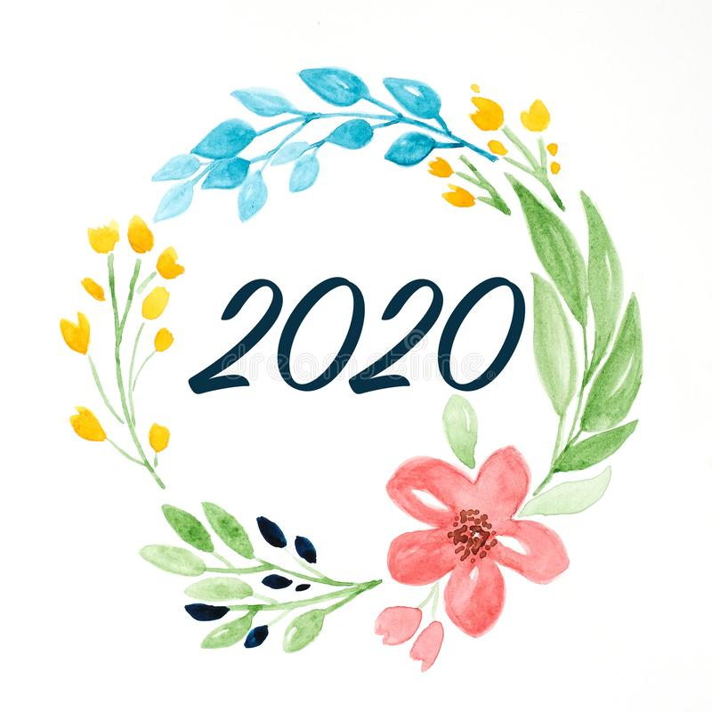 Happy new year 2020 on watercolor hand painting flowers wreath over white background, new year greeting card, banner royalty free stock photo