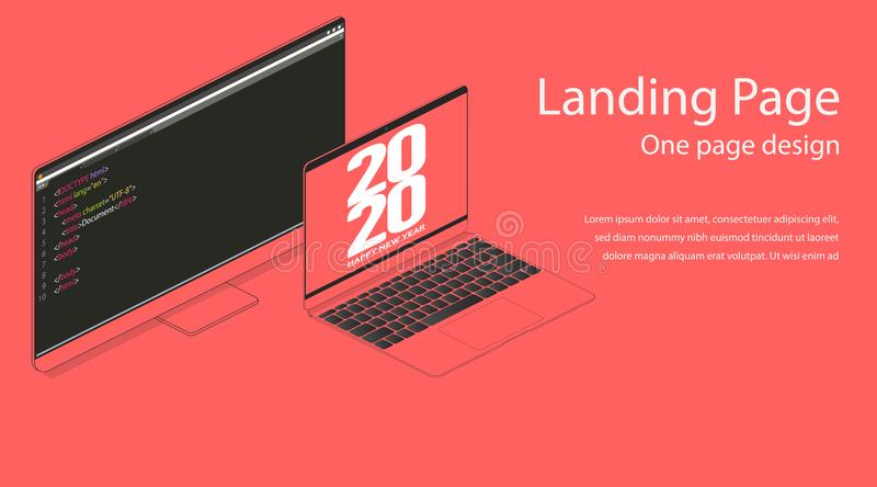 Happy new year 2020 web landing page design template. Flat isometric modern monitor and notebook illustration. Internet HTML code.  stock illustration