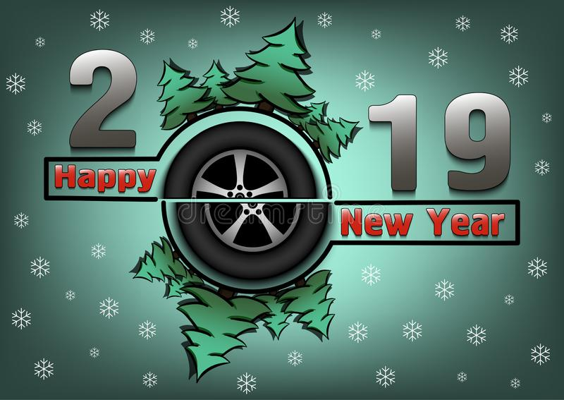 Happy new year 2019 and wheel auto vector illustration