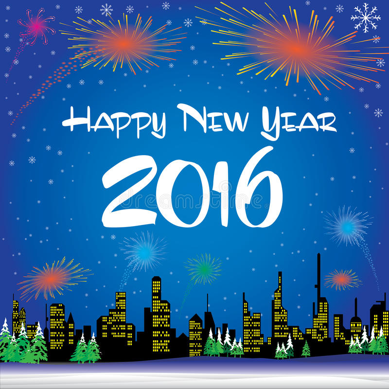 Happy New Year 2016. The white snow and Christmas tree on blue background vector illustration