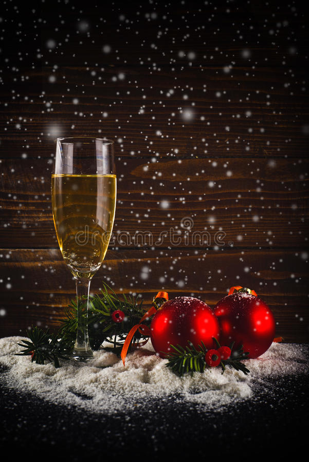 Happy New Year. White wine and christmas balls. Happy New Year card. White wine and christmas balls. New Year's Eve decoration royalty free stock photos