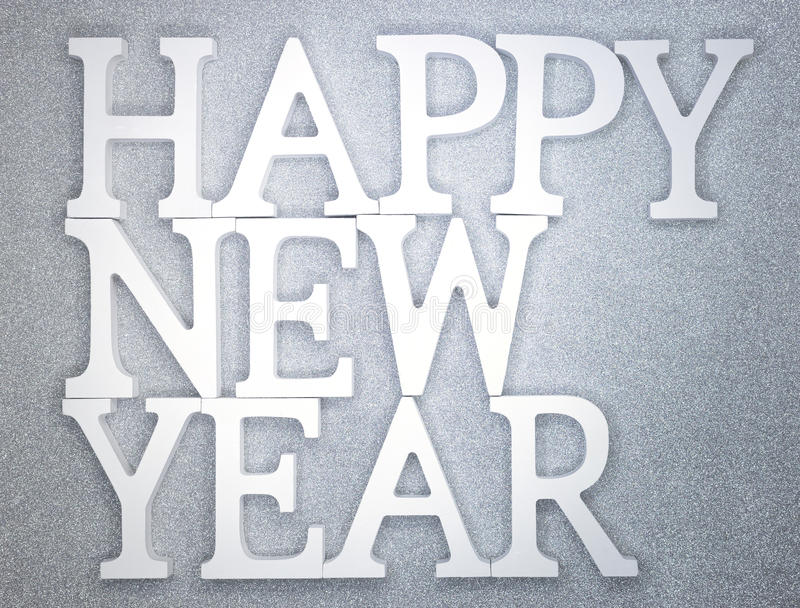 Happy New year. White wood character over sparkling wall background texture stock photography