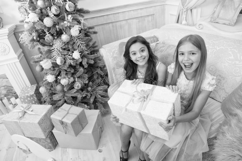 Happy new year. Winter. Christmas tree and presents. xmas online shopping. Family holiday. The morning before Xmas. Little girls. Child enjoy the holiday. Its royalty free stock photos