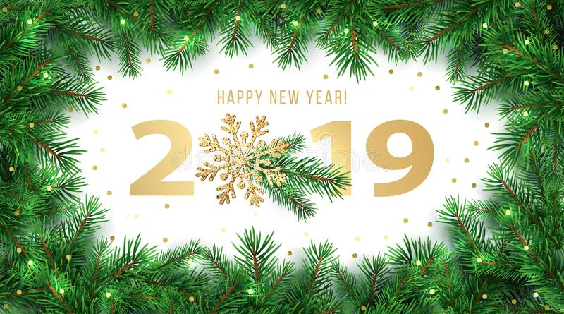 Happy New Year 2019 winter holiday greeting card design template with fir branches frame and shining Gold Snowflake decoration stock images