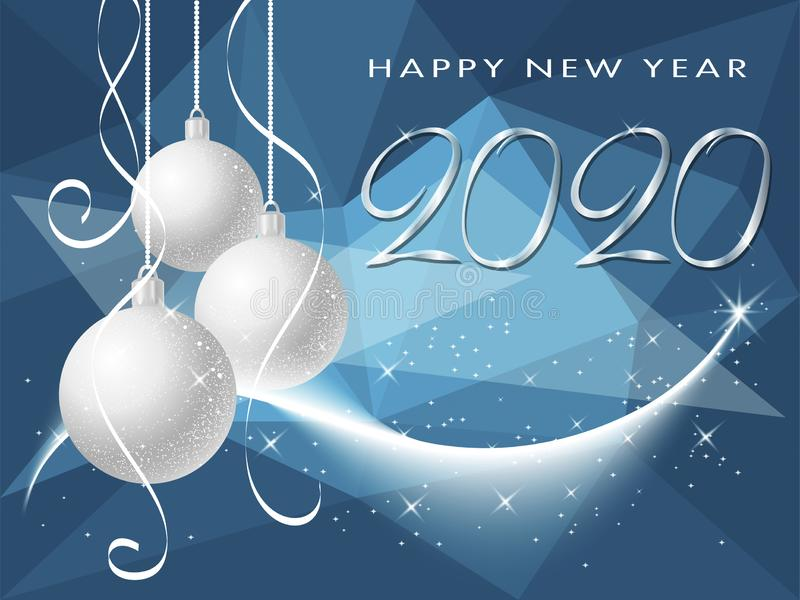 Happy New Year 2020 winter holiday greeting card wiht christmas balls royalty free stock photo