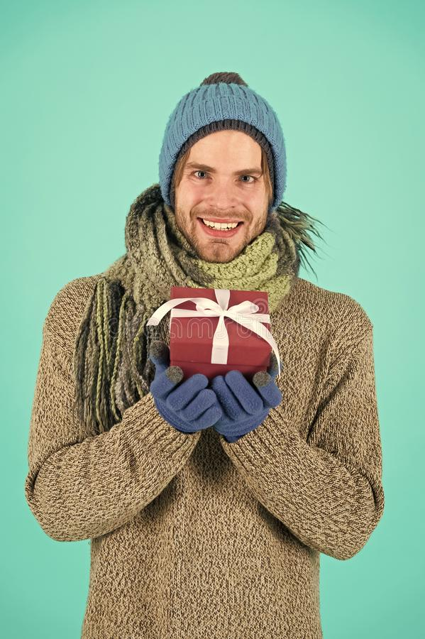 Happy new year. Winter holidays celebration. Christmas present. Man with present box. Shopping. The morning before Xmas stock images