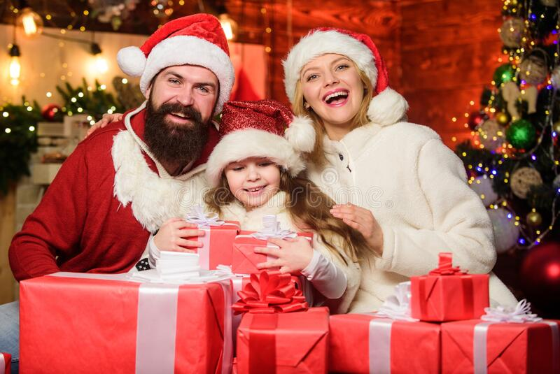Happy New Year. Winter holidays. Shopping sales. merry christmas. Father and mother love daughter. small child and royalty free stock image