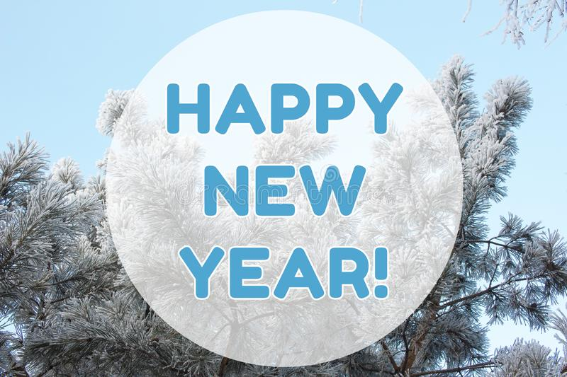 Happy New Year winter landscape background card on pastel blue colors stock photography
