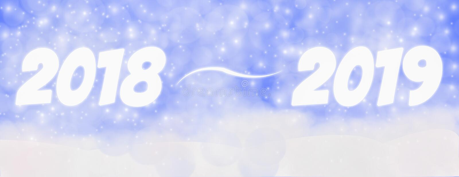 Happy new year 2018 - 2019 winter outdoor with falling snowflake vector illustration