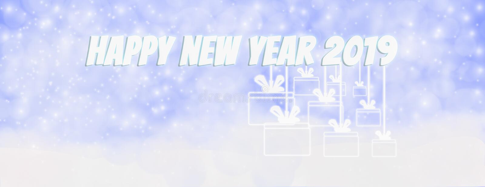 Happy new year winter outdoor with falling snowflakes, and hanging gift box,Panoramic web banner horizontal, with snow background stock illustration