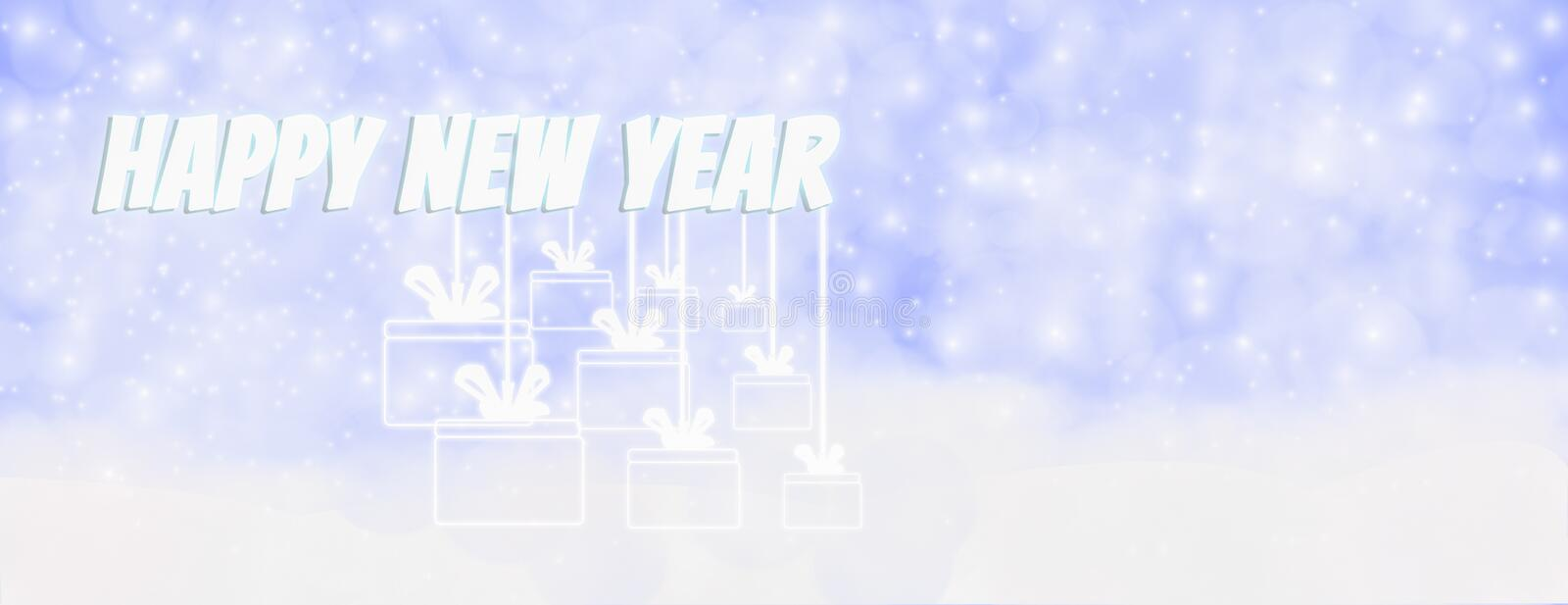 Happy new year winter outdoor with falling snowflakes, and hanging gift box,Panoramic web banner horizontal, with snow background vector illustration