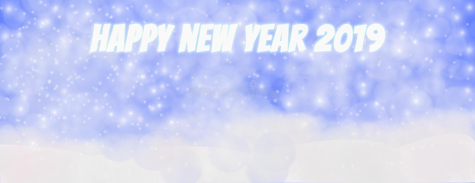 Happy new year 2019 winter outdoor with falling snowflakes,Panoramic web banner horizontal, with snow background, bokeh And vector illustration