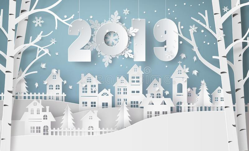 Happy new year and winter season,Snow Urban Countryside Landscape City Village. Happy new year and winter season , Snow Urban Countryside Landscape City Village vector illustration