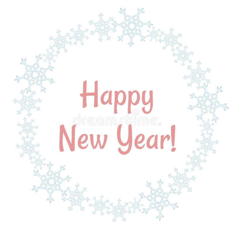 Happy New Year winter snowflakes wreath. Vector holiday postcard. Happy New Year winter snowflakes wreath. Vector postcard vector illustration