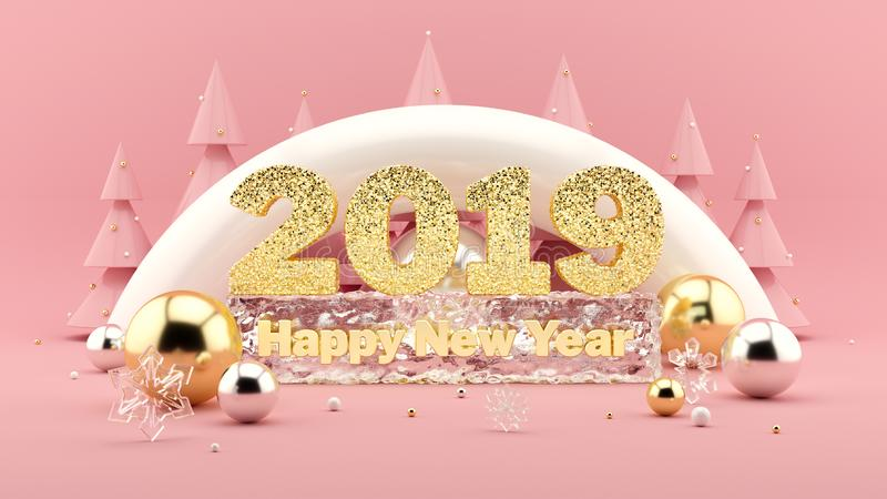 2019 Happy New Year Wish 3D composition in millennial pink colors and Christmas trees with decorations around. vector illustration