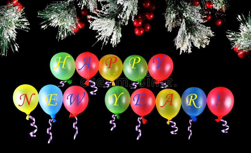 Happy new year, wish happiness - alphabet inscription on balloons colorful latex, have the ability to fly, green, yellow, red, royalty free stock photography