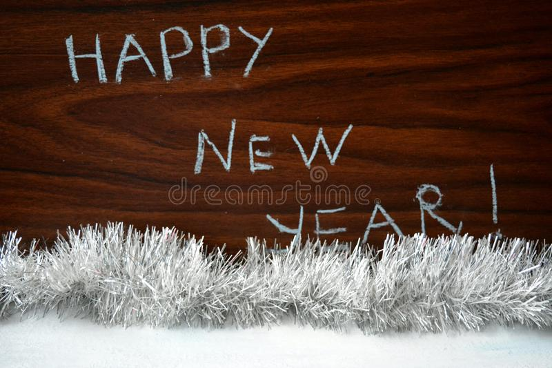 Happy New Year text wood background royalty free stock photos