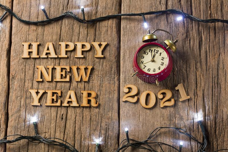 Happy New Year - Wooden background royalty free stock image
