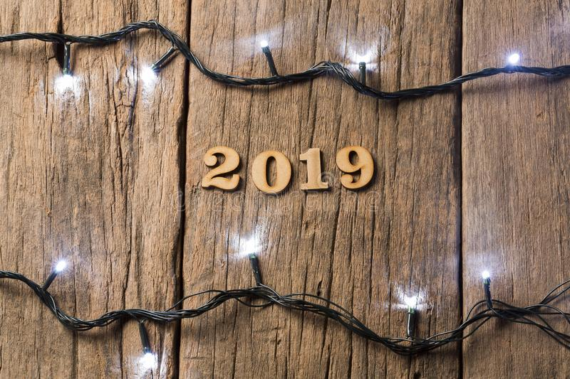 Happy New Year - Wooden background royalty free stock images