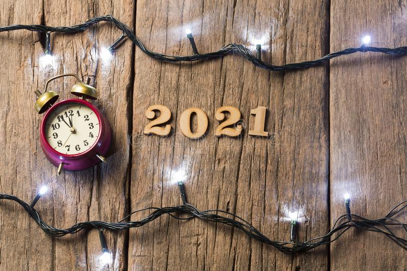 Happy New Year - Wooden background stock photos