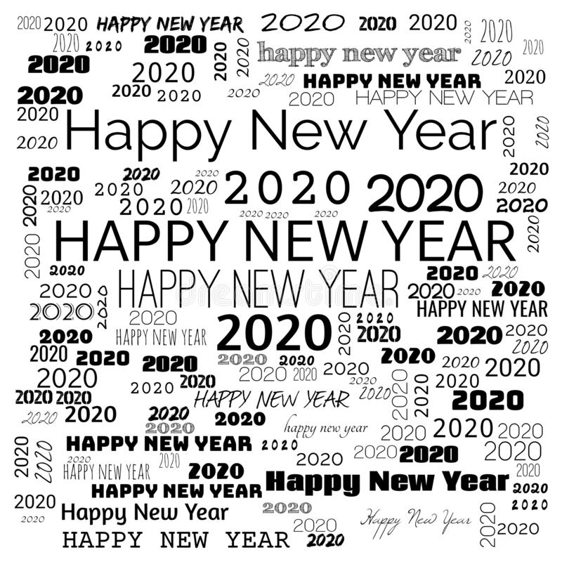 2020 happy new year word cloud. word cloud use for banner, painting, motivation, web-page, website background, t-shirt & shirt royalty free illustration
