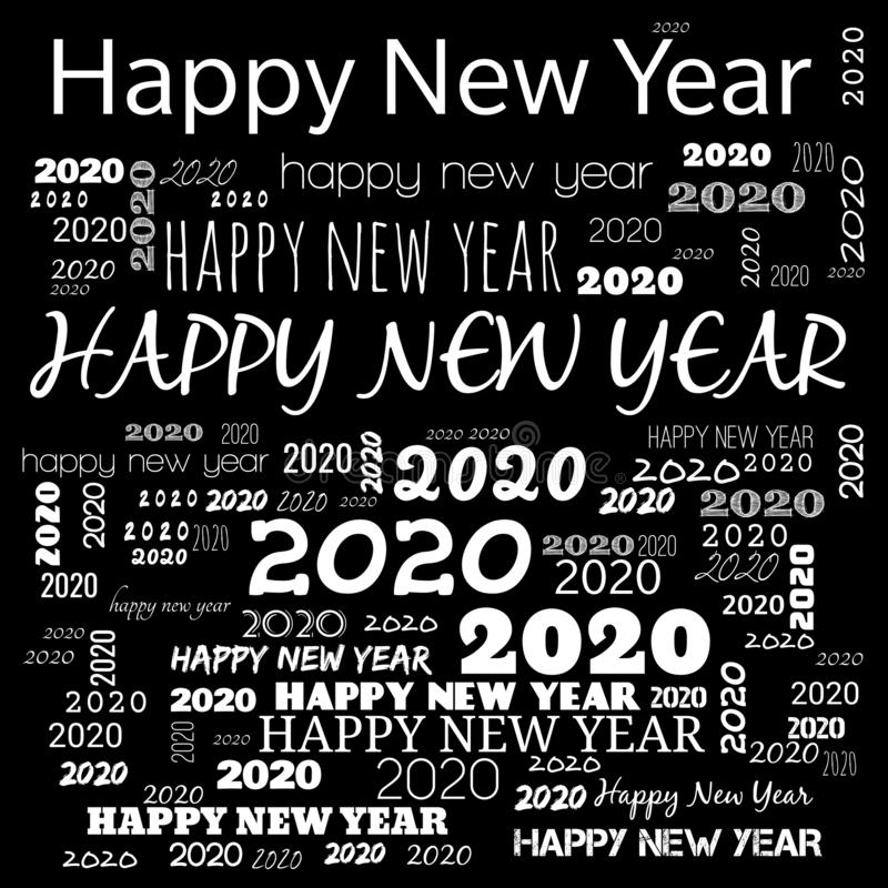 2020 happy new year word cloud. word cloud use for banner, painting, motivation, web-page, website background, t-shirt & shirt vector illustration