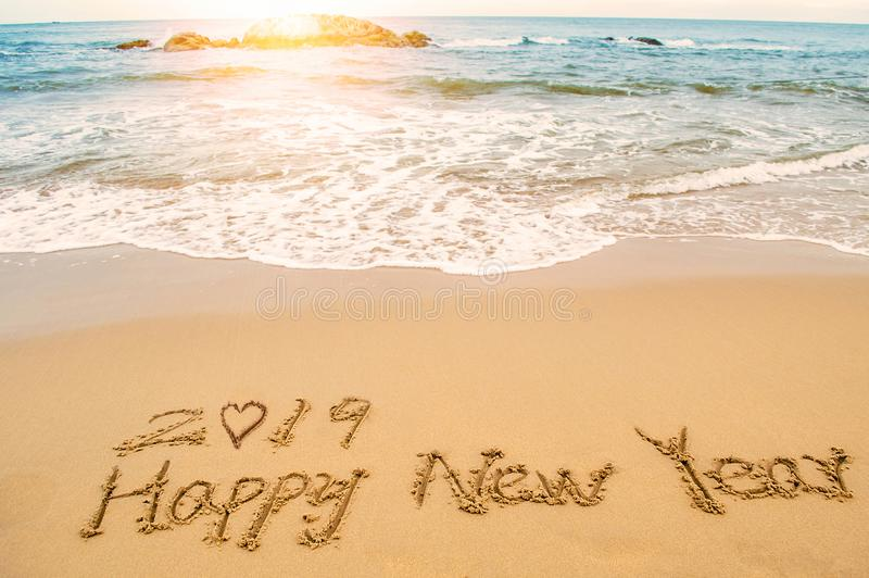 Happy new year 2019 stock image. Image of wave, ocean ...