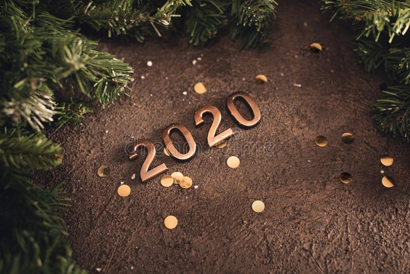 Happy new year 2020 word made from sparkler light firework.  royalty free stock image