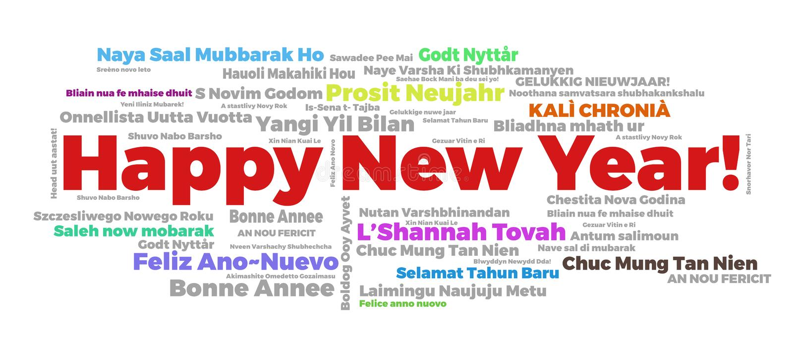 Happy New Year words cloud. The phrase Happy New Year in different languages with the more widely spoken in bigger fonts, in white background royalty free illustration