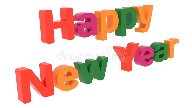 Happy New Year Words 3D Rendered Congratulation Text With Bold Font Illustration Colored With Tetrad Colors 6 Degrees. Isolated On White Background vector illustration