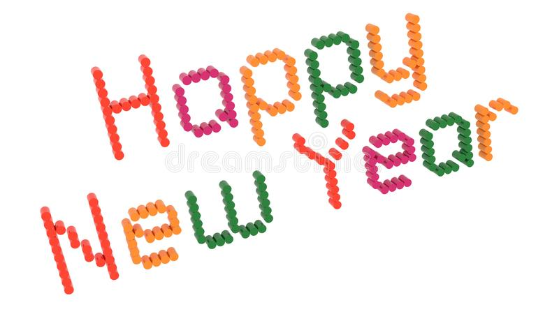 Happy New Year Words 3D Rendered Congratulation Text With Dotted Font Illustration Colored With Tetrad Colors 6 Degrees. Isolated On White Background vector illustration