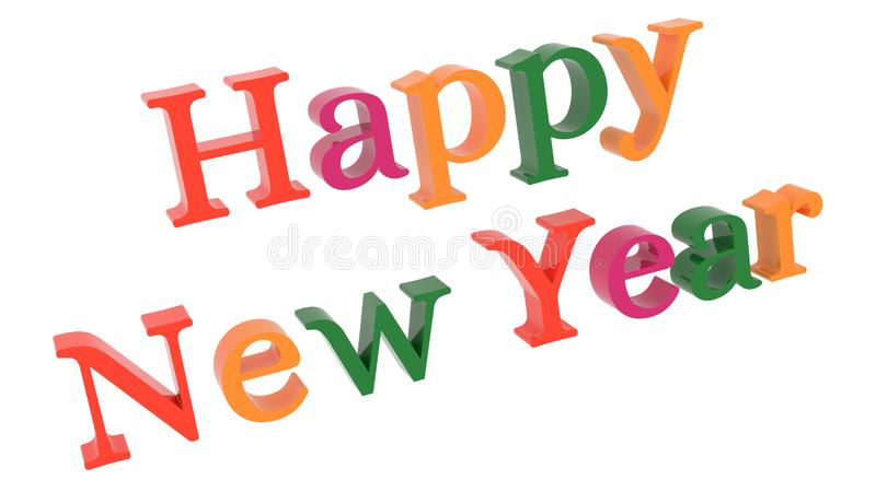 Happy New Year Words 3D Rendered Congratulation Text With Fairy Font Illustration Colored With Tetrad Colors 6 Degrees. Isolated On White Background stock illustration
