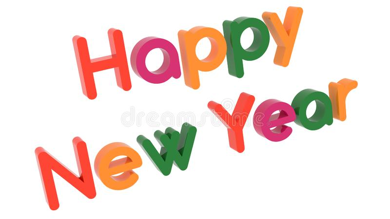 Happy New Year Words 3D Rendered Congratulation Text With Round Font Illustration Colored With Tetrad Colors 6 Degrees. Isolated On White Background stock illustration