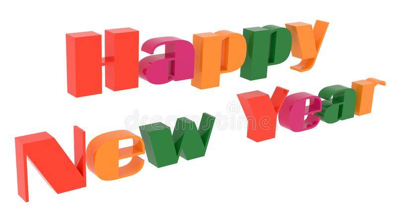 Happy New Year Words 3D Rendered Congratulation Text With Techno, Futuristic Font Illustration Colored. With Tetrad Colors 6 Degrees, Isolated On White royalty free illustration