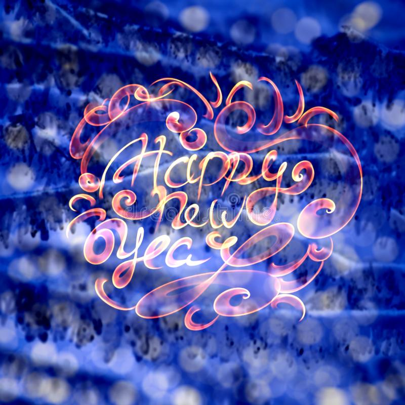 Happy new year words lettering written with fire flame or smoke on blurred light bokeh background.  vector illustration