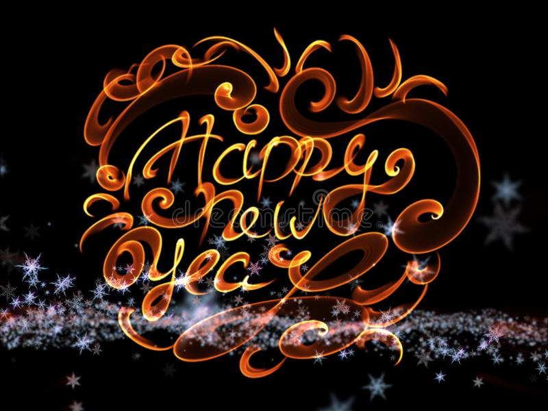 Happy new year words lettering written with fire flame or smoke on bright space background with stars royalty free illustration