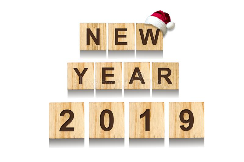 Happy New Year 2019 Words made up of alphabet on wooden cubes. Wooden background. Christmas, New Year background. Happy New Year 2019 . Words made up of alphabet royalty free illustration