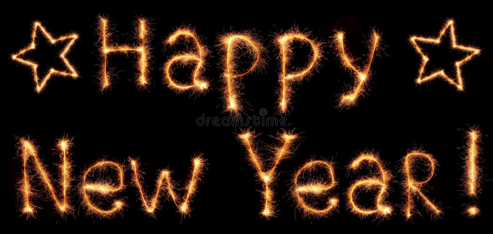 Happy New Year words. Sparkling Happy New Year words stock image