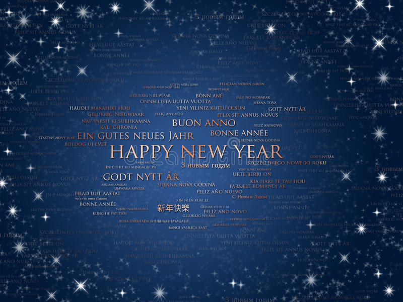 Happy new year world languages vector illustration