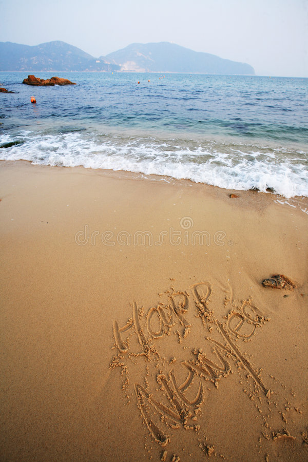 Download Happy New Year Write On Beach Stock Photo - Image: 7518294