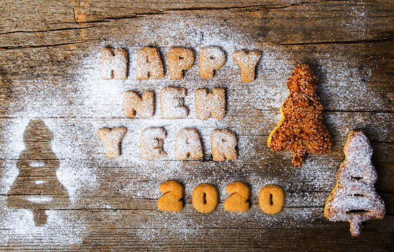 Happy new year 2020 written with cookies royalty free stock images