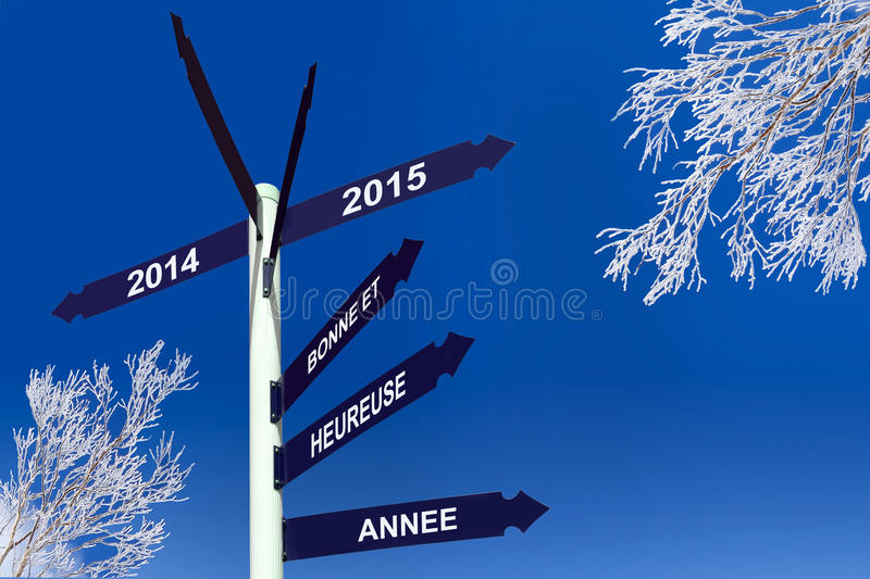 Happy new year 2015 written in French on direction panels royalty free stock images