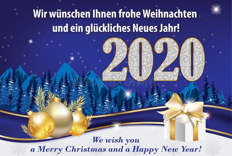 Happy New Year 2020 written in German - season`s greeting card. Happy New Year 2019 - blue and silver greeting card with text written in German, designed for the vector illustration